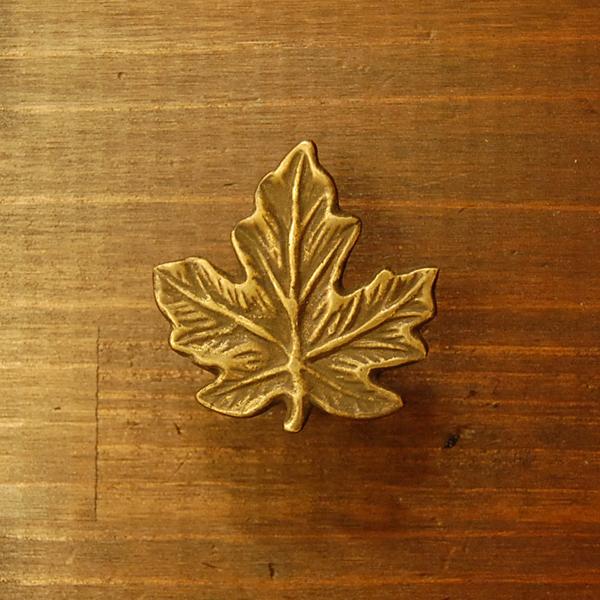 真鍮取手 ブラス Brass ノブ 金具 葉っぱ型