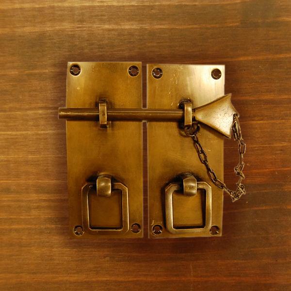 真鍮錠前 留め金具 ドア 扉金具 ブラス Brass