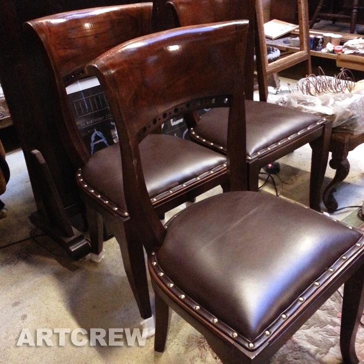 椅子修理 座面張替 加工 レザー張り