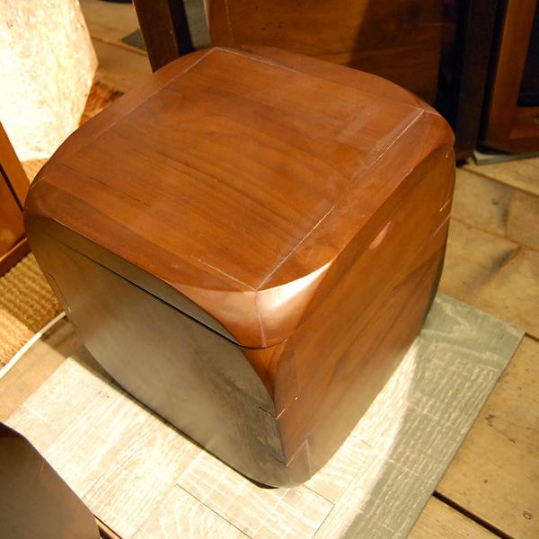 CUBEスツールBOX チーク無垢材 無垢材家具 小家具 収納