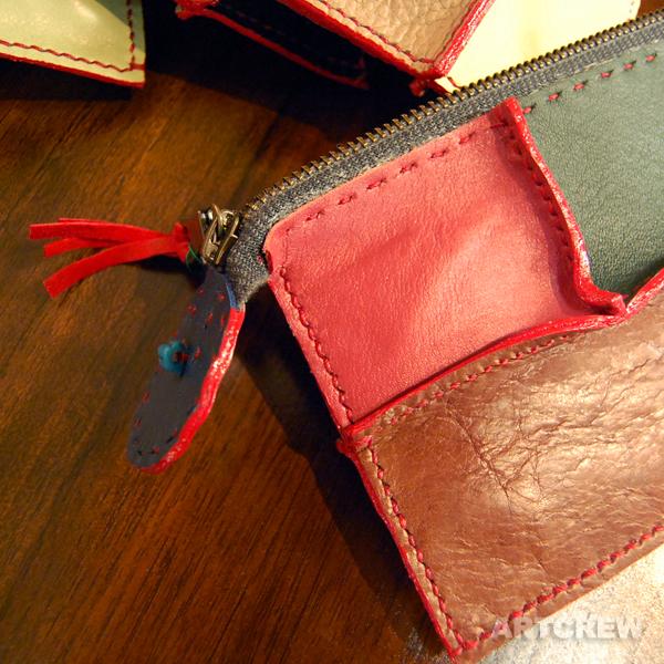 レザー小物 革細工 ハンドメイド 革小物 レザーポーチ 手縫い