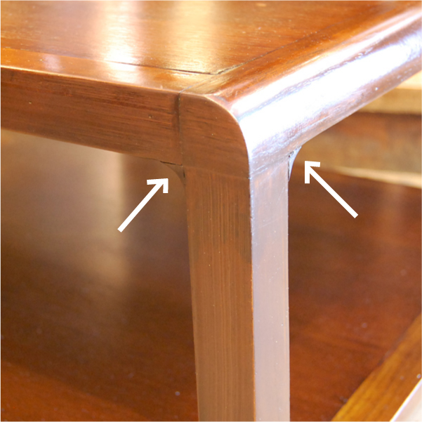 修理部分 チークローテーブル 無垢材テーブル CUBE