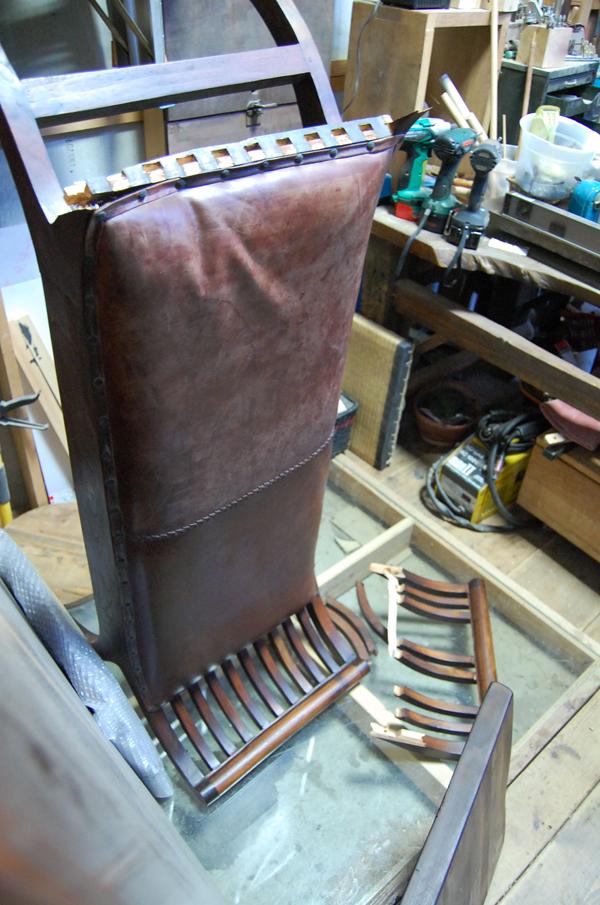 レザーベンチ 修理 木部破損修理