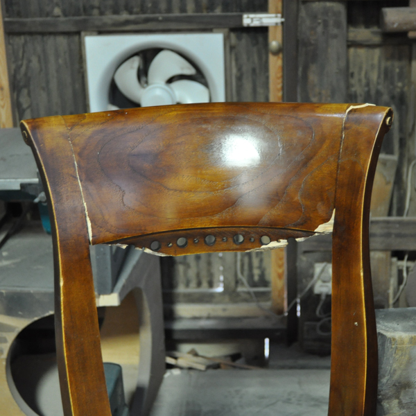 チーク無垢材 椅子 牛革 レザー 破損修理 張替