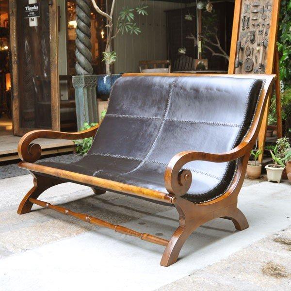 レザーソファ チークソファ 牛革 チーク無垢材家具