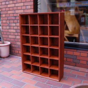 チーク無垢材家具 24ボックスラック CDラック 薄型収納