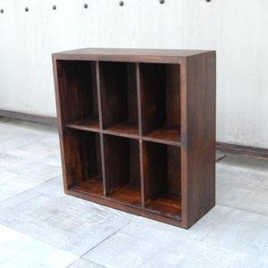チーク無垢材 6ボックスラック BoxRack 文庫本収納 薄型収納 コレクション棚