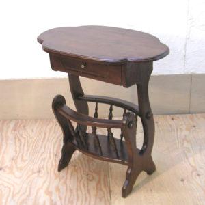 チーク無垢材家具 マガジンラックテーブル カフェテーブル 花台 電話代