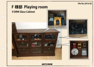 チーク無垢材家具 ガラスキャビネット 使用事例