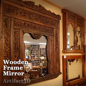 インド木彫家具 ミラー 窓枠 無垢材 一点物