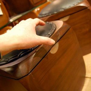 CUBEスツールBOX 牛革シート レザー チーク無垢材 無垢材家具