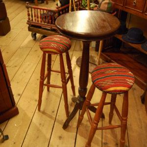 シンプルラウンドテーブル バーテーブルセット チーク無垢材家具