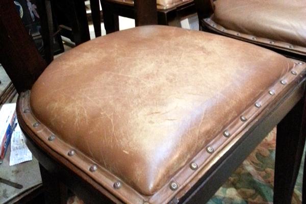 椅子座面張り替え 修理 加工 牛革