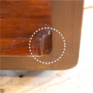 修理部分 ローテーブル 角 フレーム補強 チーク無垢材