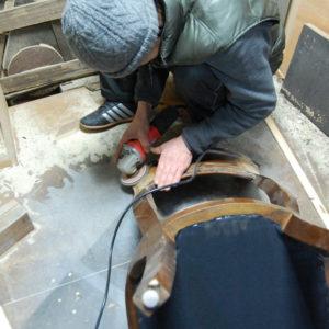ダイニングチェア 修理 チーク無垢材 背もたれ破損 工房