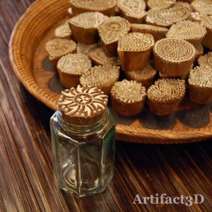 木版 瓶の蓋 インド 手彫り