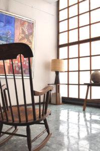 キツツキ家具 USED ロッキングチェア ランプ チーク材