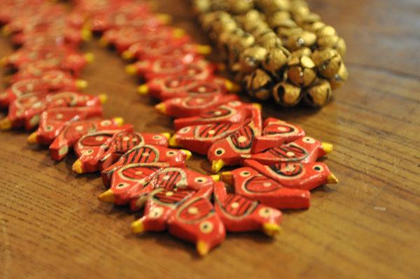 インド 木製品 鳥 真鍮鈴