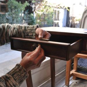 引出鍵加工 アレンジ 別注 コンソール チーク家具 真鍮鍵